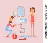 plumber repairing a damaged... | Shutterstock .eps vector #501079639