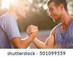 two hot men shake each others... | Shutterstock . vector #501099559