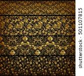 set of horizontal golden lace... | Shutterstock .eps vector #501107815