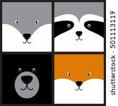 vector cute cartoon wolf ... | Shutterstock .eps vector #501113119