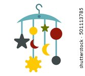 baby bed carousel icon. flat... | Shutterstock .eps vector #501113785
