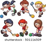 cartoon kids paying floorball.... | Shutterstock .eps vector #501116509