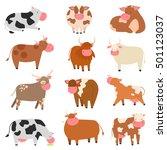 milk cow with calf bull buffalo ...   Shutterstock .eps vector #501123037