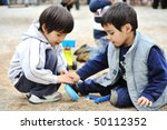 Playful ambient, happiness and joy outdoor - stock photo