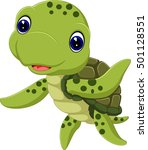 cute sea turtle cartoon | Shutterstock . vector #501128551