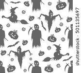 seamless pattern for halloween | Shutterstock .eps vector #501135697