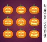 halloween carved pumpkins.... | Shutterstock .eps vector #501150349