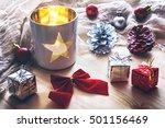 White Lantern With Christmas...