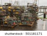 Crab Pots Stacked At The Docks...