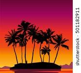 paradise. beautiful sunset... | Shutterstock .eps vector #501182911