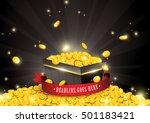 Vector Of Gold Coins Splashing...