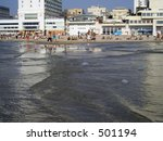 Jellyfish in the sea (view on the beach of Tel Aviv from the water) - stock photo
