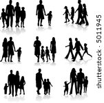 family silhouettes | Shutterstock .eps vector #5011945