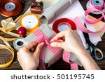 human hands wrapping christmas... | Shutterstock . vector #501195745
