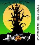 halloween castle in the... | Shutterstock .eps vector #501198211