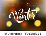 hello winter be cool hand... | Shutterstock .eps vector #501205111