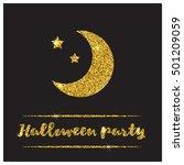 halloween gold textured moon... | Shutterstock .eps vector #501209059