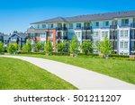 concrete pathway across green... | Shutterstock . vector #501211207
