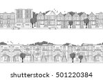 two hand drawn seamless city... | Shutterstock .eps vector #501220384