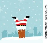 santa stuck in a chimney | Shutterstock .eps vector #501228691