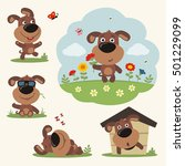 Stock vector vector set funny puppy dog in different poses on summer meadow with flowers collection isolated 501229099