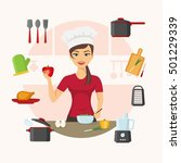 chef with cooking appliances ... | Shutterstock .eps vector #501229339