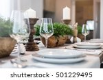 table set on dinning table at... | Shutterstock . vector #501229495