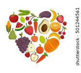 healthy food concept heart... | Shutterstock .eps vector #501244561