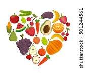 healthy food concept heart... | Shutterstock .eps vector #501244561