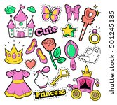 girl princess badges  patches ... | Shutterstock .eps vector #501245185