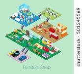 isometric furniture shop inside ... | Shutterstock .eps vector #501245569