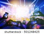 silhouette of hands using smart ... | Shutterstock . vector #501248425