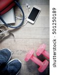 flat lay of cellphone and sport ... | Shutterstock . vector #501250189