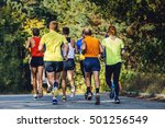 group of runners marathoners to ... | Shutterstock . vector #501256549