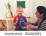 little boy during lesson with... | Shutterstock . vector #501262051