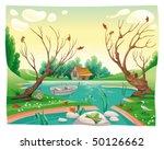 Pond And Animals. Funny Cartoo...