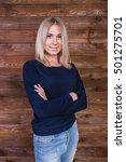 the girl in the studio  posing... | Shutterstock . vector #501275701