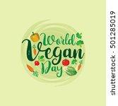 world vegan day vector... | Shutterstock .eps vector #501285019