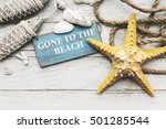gone to the beach summer... | Shutterstock . vector #501285544