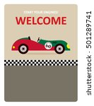 vintage racing car start your... | Shutterstock .eps vector #501289741