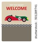 vintage racing car start your... | Shutterstock .eps vector #501289741