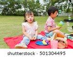 kids having picnic on the park | Shutterstock . vector #501304495