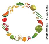 color vegetables circle icon.... | Shutterstock . vector #501305251