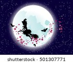 halloween flying witch on a... | Shutterstock .eps vector #501307771