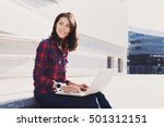 young woman using laptop... | Shutterstock . vector #501312151