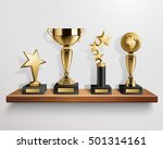 realistic shiny golden trophy... | Shutterstock .eps vector #501314161