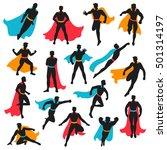 set of black superhero... | Shutterstock .eps vector #501314197