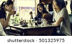 group of people drinking coffee ... | Shutterstock . vector #501325975