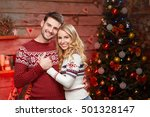 sweet couple in winter sweaters ... | Shutterstock . vector #501328147