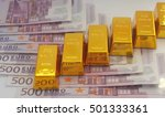 gold bars on euro bills  | Shutterstock . vector #501333361